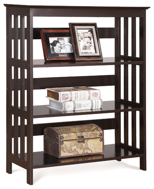 4 Tier Espresso Wood Bookshelf Bookcase Display Cabinet - Contemporary - Bookcases - by ...