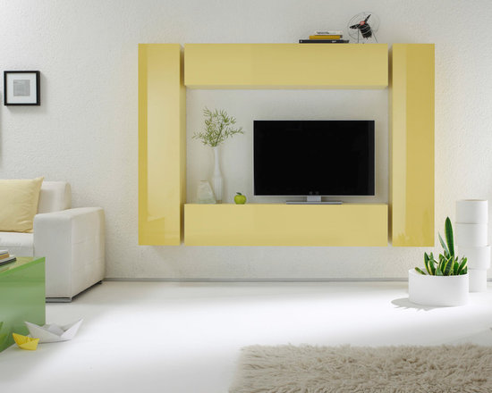 Modern Wall Unit TV Media Entertainment Center Combi 2 - $956.00 - Modern Wall Unit TV Media Entertainment Center Combi 2 by LC Mobili. Simple and stylish this modular entertainment system, manufactured by LC Mobili, Italy, will be great addition to any room in your modern home. Combi 2 consist of two horizontal and two vertical hanging units. Box is a new, ultra modern modular system, that have been designed to offer extreme flexibility of compositions and colors. All units are available in 7 colors: White, Sand, Dark Gray, Turquoise, Lilac, Yellow or Green. The maximum modularity of the elements provides you with unlimited design flexibility. Please contact our office about details on customization of this wall unit.