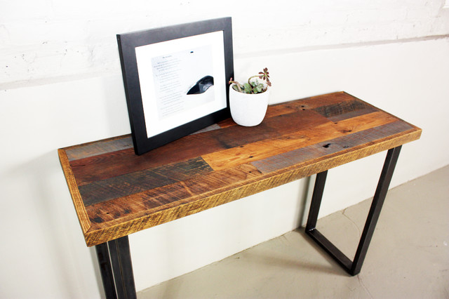 Reclaimed Patchwork Wood Hall Table With Metal Legs - Industrial - Console Tables - by what WE make