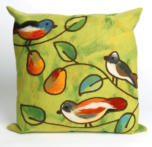 Song Birds Green Outdoor Pillow  outdoor pillows