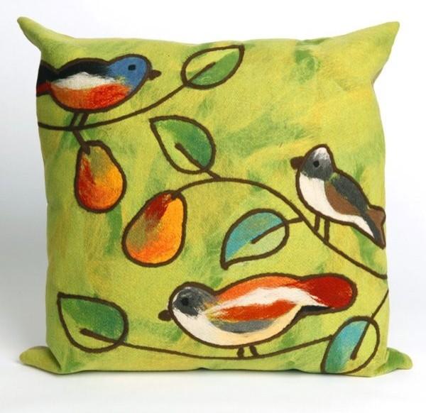 Song Birds Green Outdoor Pillow outdoor-pillows