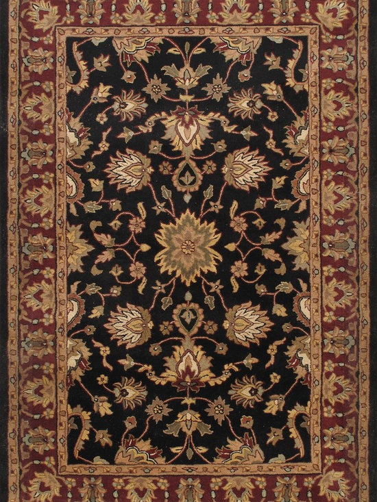 Rugsville Rug Royal Traditional Wool 12157 Black Rust - Hand-made of 100% wool for lasting durability and dense texture, The border features a different background color to provide the perfect frame.