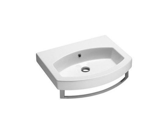 "GSI - Modern Curved Wall Mounted, Vessel, or Self Rimming Bathroom Sink by GSI - Modern stylish bathroom sink made of high quality white ceramic. Designed and manufactured in Italy by GSI. Unique curved wall mounted, above counter vessel, or self rimming sink includes overflow. Available with a single faucet hole, no hole (as shown), or 3 holes. Sink dimensions: 23.60"" (width), 6.30"" (height), 19.70"" (depth)"