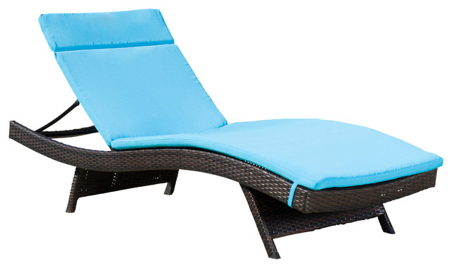 Single blue cushion pad for outdoor chaise lounge chair for Blue outdoor chaise lounge