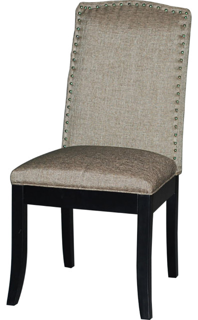 Black Upholstered Back Side Chair (Set of 2) transitional-dining-chairs