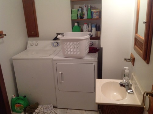 Ugly dated wicker in bathroom laundry room for Bathroom and laundry ideas