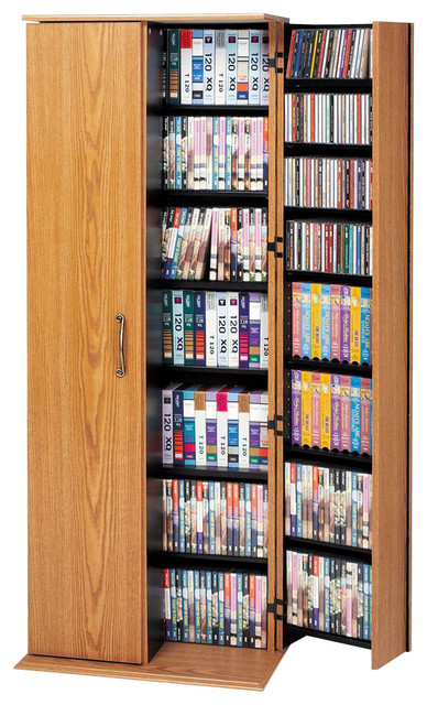 Prepac Oak Large Deluxe Multimedia Storage Cabinet with Lock - Traditional - Media Cabinets - by ...