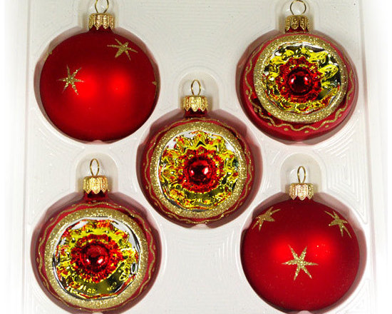 """""""Orbit"""" Christmas Ornament set - This set has five 2.4"""" (60mm) Christmas balls. Each item is hand painted by a skilled artist and will be a beautiful addition to your Christmas ornaments collection. Artists use same painting technique that was used in 1800's. Each glass ornament is painted individually which makes them unique and adds some small variations to each product."""