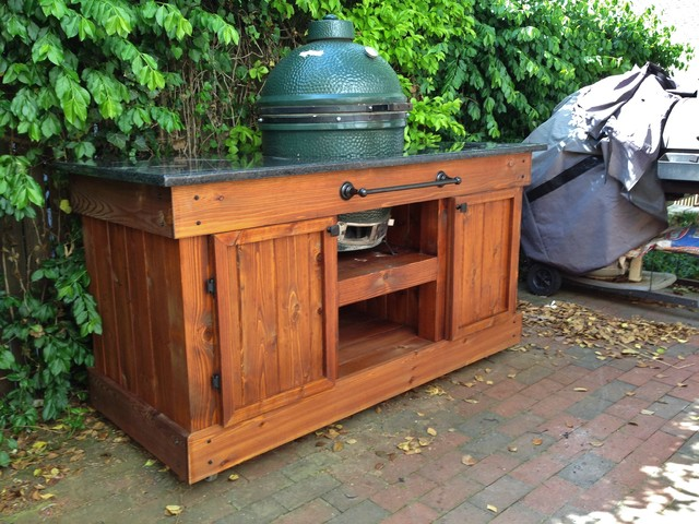 Big Green Egg Table -- Double Door, Golden Oak & Black Pearl