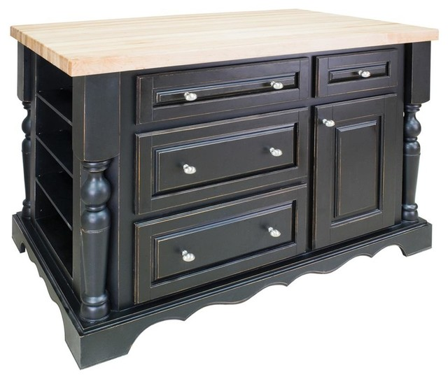 Jeffrey Alexander Isl Dbk Entertaining Kitchen Island Distressed Black