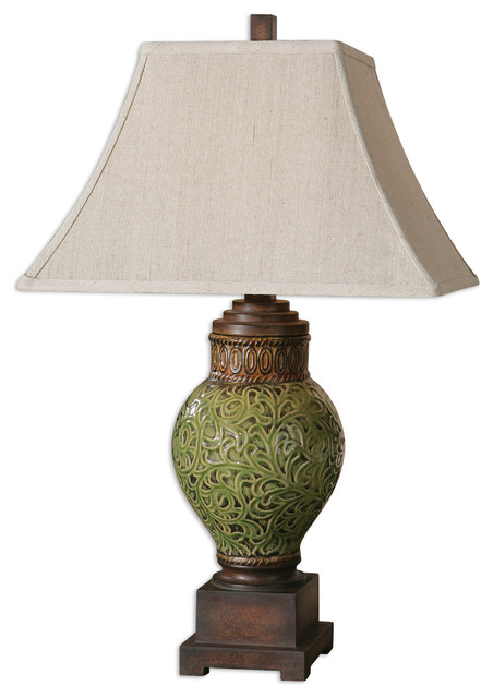 Aliano Crackled Green Lamp transitional-table-lamps