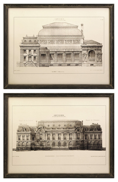 black and white framed architectural wall prints set of 2