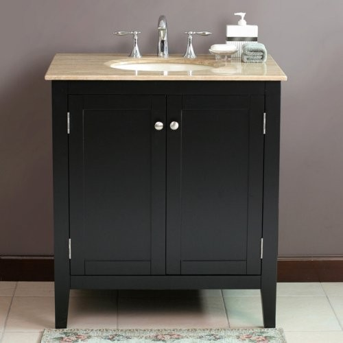 Virtu USA Padora 32 In Black Single Bathroom Vanity LS 1037 Contemporary