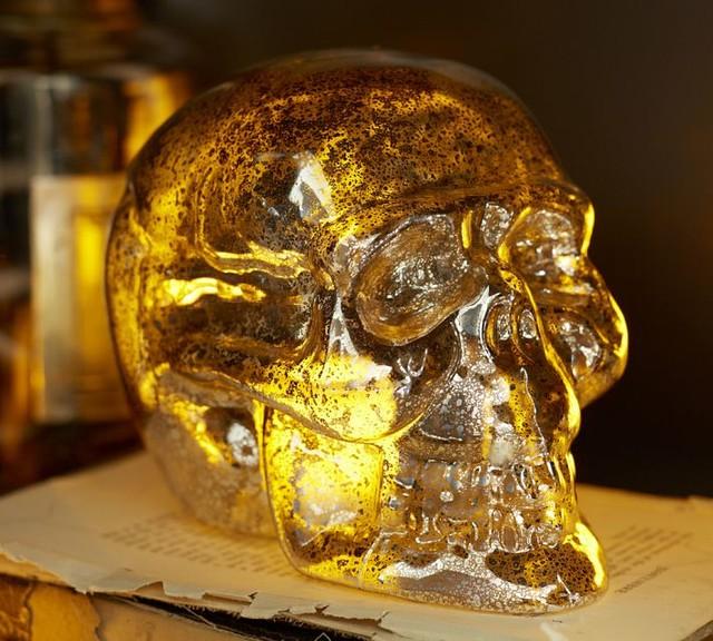 Mercury Glass Skull contemporary-holiday-decorations
