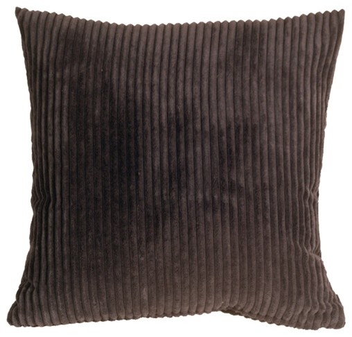 Dark Brown Throw Pillow : Pillow Decor - Wide Wale Corduroy Dark Brown 18 x 18 Throw Pillow - Contemporary - Decorative ...