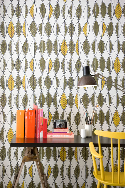 Retro Leaves Wallpaper by Ferm Living modern-wallpaper