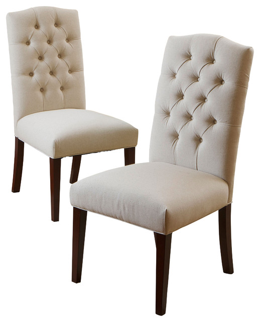 Clark dining chairs set of 2 natural linen for Fabric dining room chairs