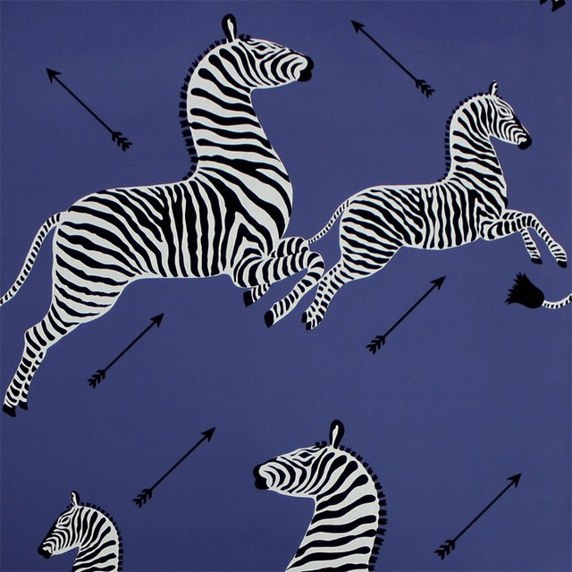 Scalamandre Zebras Wallpaper Denim Eclectic Wallpaper
