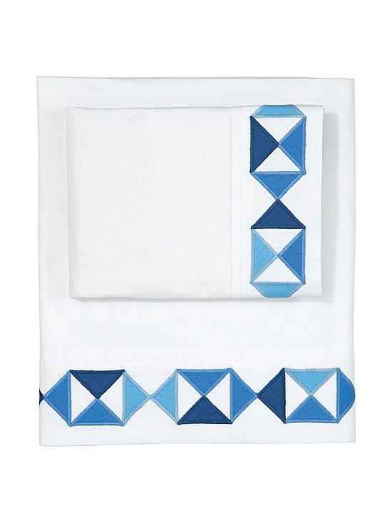 Serena & Lily - Ultramarine Flag Sheet Set - Pair this geometric sheet set with white bedding with a blue border frame.