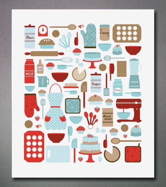 Today I Feel Like Baking Print eclectic-artwork