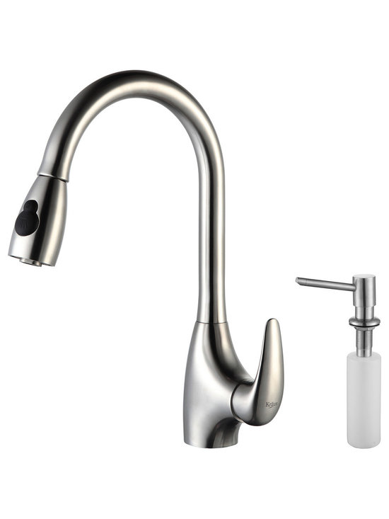 Kraus - Kraus KPF-2170-SD20 Single Lever Stainless Steel Pull Out Kitchen Faucet - Update the look of your kitchen with this multi-functional Kraus pull-out faucet