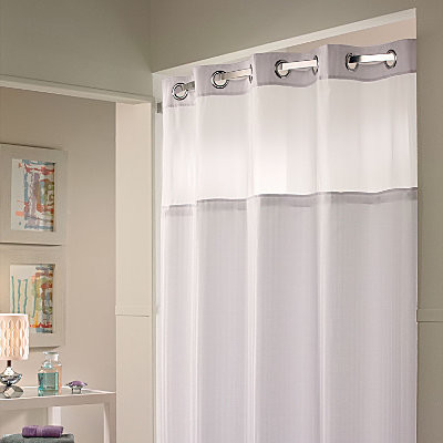Hookless Shower Curtain Snap on Liner Contemporary