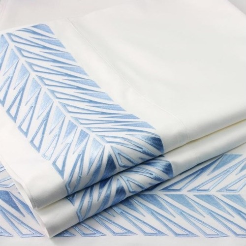 Embroidered Sicily Sheet Set in Angel Blue and White modern sheet sets