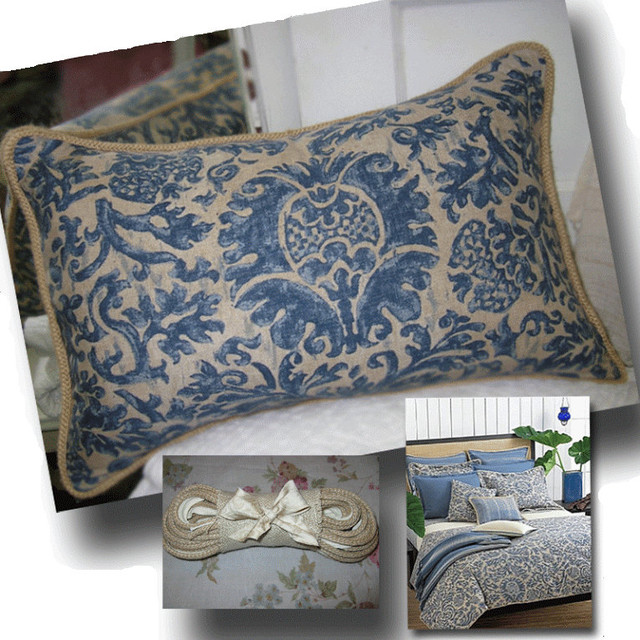 Ralph Lauren Throw Pillows Home Goods : Ralph Lauren Damask Linen Decorative Pillow - Mediterranean - los angeles - by Vinatta Home