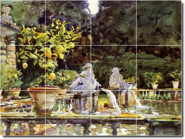Villa De Marlia A Fountain Tile Mural By John Sargent traditional-tile-murals