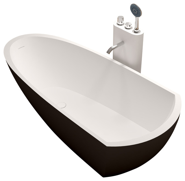 Stand Alone Bathtubs : ADM Matte Black Stand Alone Resin Bathtub - Contemporary - Bathtubs ...