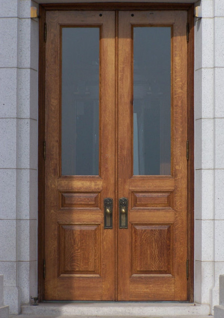 White oak custom 3 panel solid wood doors traditional for Solid wood front doors