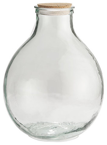 Wide Mouth Recycled Glass Vessel traditional-vases