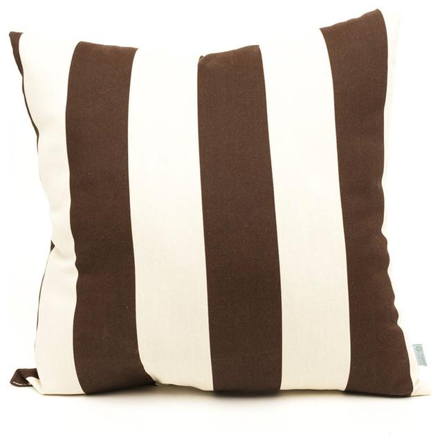 Outdoor Chocolate Vertical Stripe Pillow