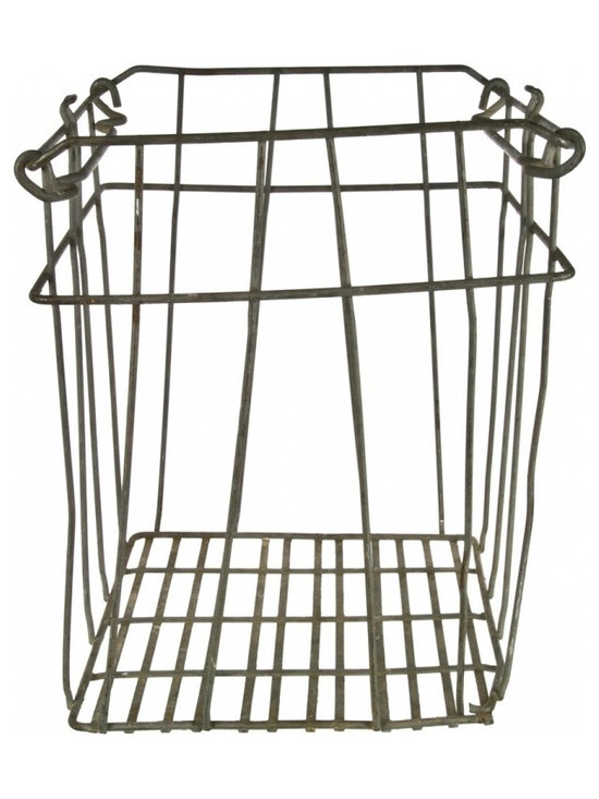 Wire Stackable Milk Crate - Tall vintage galvanized wire stacking milk crate, circa 1930.