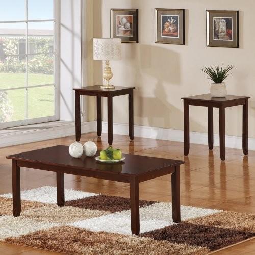 Steve Silver Angel Rectangular Cherry Wood 3 Piece Coffee Table Set modern-coffee-tables