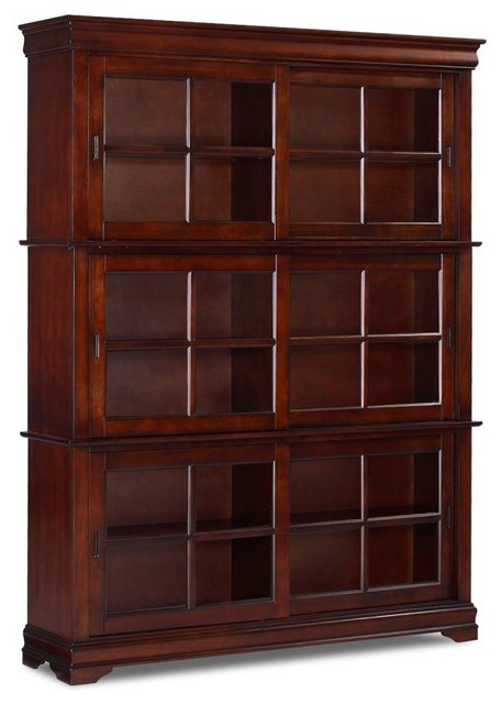 ... Sliding Door - Cherry modern bookcases cabinets and computer armoires