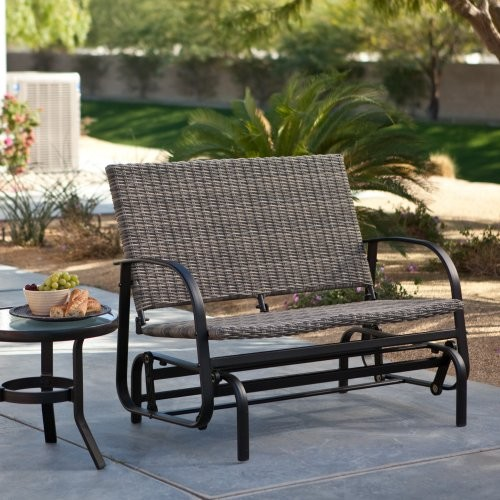 Terrace living beachwood wicker double glider contemporary outdoor benches by hayneedle