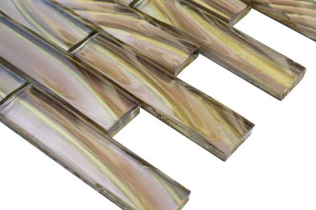 Metallic Sidewinder Glass Tile contemporary-tile