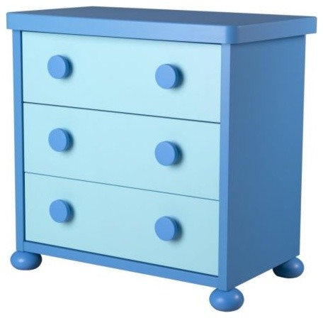 Mammut 3 drawer chest blue scandinavian kids dressers for Kids furniture ikea