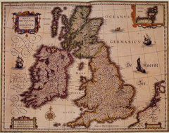 1635 Map of Great Britain and Ireland eclectic artwork