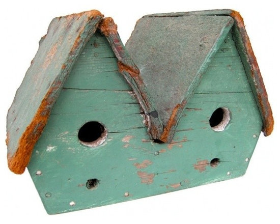 """ecofirstart - """"Double Wide"""" - USA Mid 20th century An unusual and amusing """"Double Wide"""" birdhouse. Having a graphic and vivid exterior color palette. Southern Ohio origins. Two for the price of one!"""