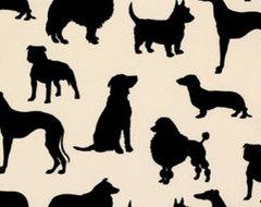 Dog Flock Velvet Wallpaper eclectic-wallpaper