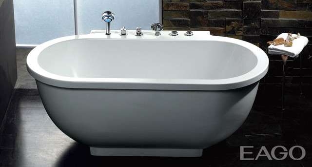 Eago AM128 71 Inch Oval Free Standing Whirlpool Bath Tub With All Fixtures