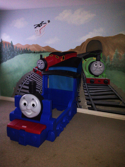 thomas the train mural kid 39 s room michigan other metro. Black Bedroom Furniture Sets. Home Design Ideas