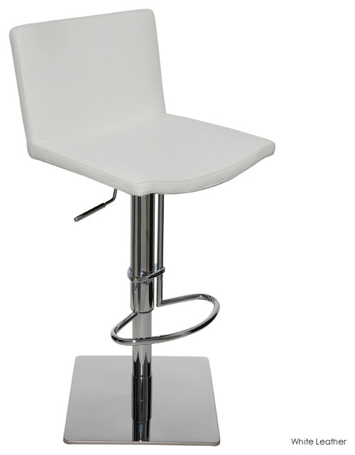 Gia Adjustable Stool, White Leather contemporary-bar-stools-and-counter-stools