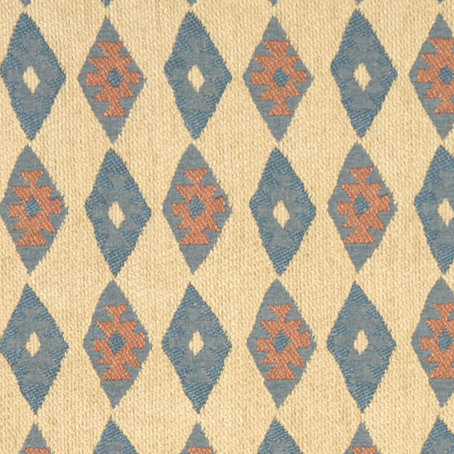 Beige, Blue and Salmon, Diamond Southwest Style Upholstery Fabric By The Yard rustic-upholstery-fabric