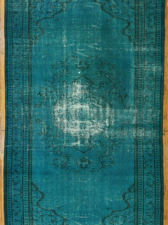 Turquoise Overdyed Rug - Rich color with hints of underlying pattern revive well-loved vintage Turkish carpets into a truly fabulous area rug.