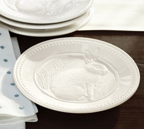 Easter Bunny Debossed Salad Plate Traditional
