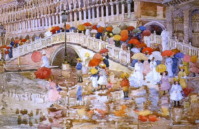 "Maurice Prendergast Umbrellas in the Rain - 16"" x 24"" Premium Archival Print traditional-artwork"