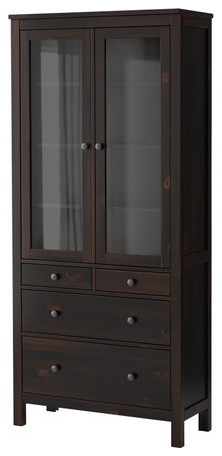HEMNES Glass-door cabinet with 4 drawers - Contemporary - Storage Cabinets - by IKEA